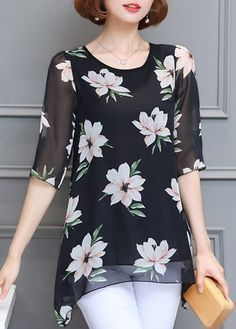Black Floral Half Sleeve Chiffon Tunic Top - #bllusademujer #mujer #blusa #Blouse
