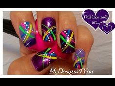 Neon Nail Art For Beginners | Abstract Nail Design for Short Nails ♥ - YouTube