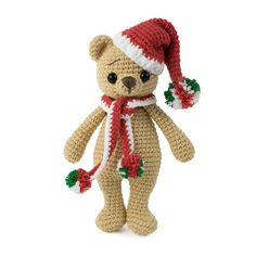 Meet cuddly and lovely crochet bear! Measuring 6 inches tall, this amigurumi bear is a perfect Christmas gift. Make it with our Christmas Bear Crochet Pattern! Crochet Elephant Pattern, Crochet Animal Patterns, Stuffed Animal Patterns, Crochet Patterns Amigurumi, Crochet Toys, Unicorn Pattern, Amigurumi Toys, Crochet Animals, Crochet Panda