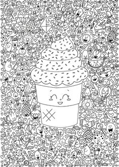 71 anti stress coloring drawings to print on Coloring Pages For Grown Ups, Coloring Book Pages, Printable Coloring Pages, Cool Doodles, Kawaii Doodles, Doodle Drawings, Doodle Art, Doodle Images, Geometric Patterns