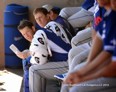 Kershaw and Ellis between innings, pic via Jon SooHoo/LA Dodgers 2014.