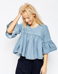 ASOS White | ASOS WHITE Extreme Denim Frill Top at ASOS
