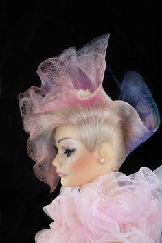 Mannequin Hair Play. Avant Garde Hair. Pink HairColor w/Blonde