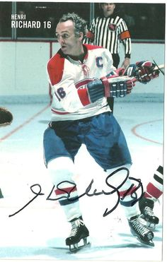 "Joseph Henri Richard, nicknamed ""Pocket Rocket"" and ""Rocket Richard"" / Montreal Canadiens / 1955 - 1975 Montreal Canadiens, Hockey Goalie, Hockey Teams, Ice Hockey, Canadian Hockey Players, Nhl Players, Bill Russell, Montreal Hockey, Boston Celtics"