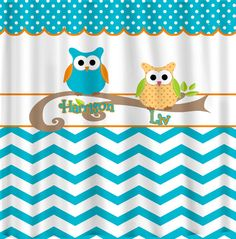 Custom Personalized Chevron Shower Curtain - Turquoise & Orange accents - Owl Elements