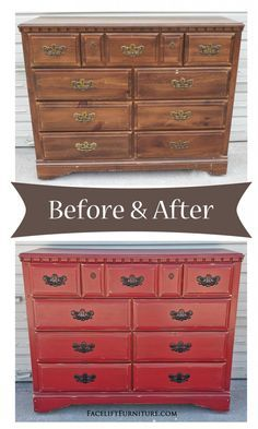 Barn Red Dresser with Black Vintage Pulls - Before & After. Facelift Furniture DIY Blog.