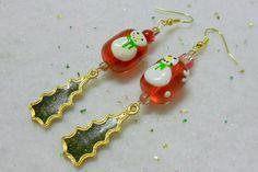 Christmas Snowman Tree Earrings Vintage Glitter by UniversalCharm