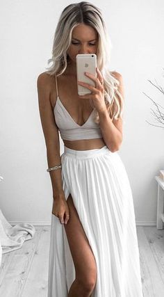 Simple white two pieces long prom dress,formal dresses
