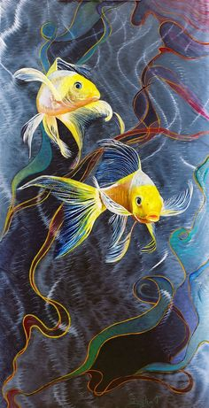 Koi Fish on Metal Painting Yellow Butterfly Koi by by audrey Koi Fish Drawing, Fish Drawings, Art Drawings, Koi Painting, Underwater Painting, Koi Art, Fish Art, Watercolor Fish, Watercolor Paintings