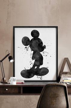 watercolor Mickey, Watercolor black & white Mickey poster, Disney print, Disney poster, Mickey watercolor, Wall art, kids decor, Home Decor.