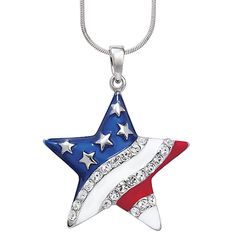 Silverplate Enamel Crystal Flag Star Pendant 18in