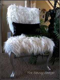incredibly fun chairs--glue gun, fake fur and silver spray paint transform an old slipper chair http://thesavvystagerdotorg.wordpress.com/2012/02/01/a-couple-of-furry-chairs/#