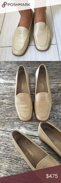 Authentic Chanel Loafers Authentic cream colored Chanel Loafers. Purchased from a designer consignment store in AZ, I love them but I just don't wear them enough. No signs of wear except on bottom of shoe. Accepting reasonable offers! CHANEL Shoes Flats & Loafers