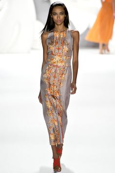 mid-length gray and orange silk print dress Carolina Herrera - Spring Summer 2013 Ready-To-Wear - Shows - Vogue.it