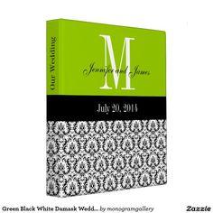 Green Black White Damask Wedding Planner Binder