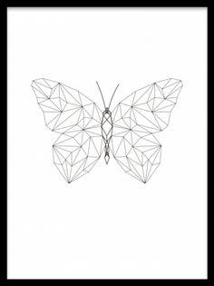 Geometric Butterfly, poster. Poster med geometrisk fjäril. Poster med geometrisk form av en fjäril. Passar perfekt till andra geometriska tavlor eller posters från kategorin grafiskt.
