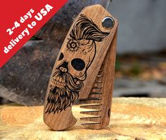Valentines Boyfriend Gift Skull Beard Hair Comb Engraved Beard Brush Man Grooming kit Stag Party Gift for Husband Guy Brother Dad Boyfriend ----------------------------------------------------------------------------------------------- SIGN UP to receive our newsletter and get an 10%