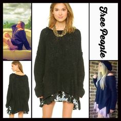 """FREE PEOPLE Teddy Bear Oversized Sweater FREE PEOPLE Black Tunic Sweater Teddy Bear Pullover  * Hi-Lo hemline, pullover style, & round neck   * Incredibly soft & comfortable  * Long & wide sleeves  * About 24"""" long in the front & 26"""" long in the back; tunic length on most  * Super relaxed & purposely oversized loose knit silhouette  Fabric: 56% acrylic, 26% wool, 11% angora, & 7% nylon (not scratchy at all) Color: Black  🚫No Trades🚫 ✅Offers Considered*/Bundle Discounts✅ *Please use the…"""