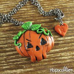 Skull Pumpkin Halloween Jewelry by rapscalliondesign on Etsy, $18.19