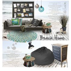 Beach Home Wishes by nyrvelli on Polyvore featuring interior, interiors, interior design, home, home decor, interior decorating, Gold Medal, Nuevo, Nemo and Sugarboo Designs