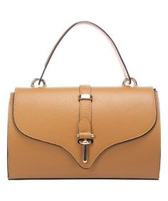 Cognac Flap Leather Satchel