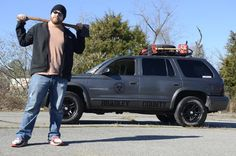 Meanwhile, in Tennessee: Ryan McKinney owns a Dodge Durango that he has whimsically decorated as a Zombie invasion response vehicle. Accessories include axes to chop off the heads of zombies.