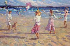 Kite Festival by don hatfield Oil on Linen ~ 36 x 48 South African Artists, Beach Scenes, New Artists, Contemporary Artists, Impressionism, Wallpaper Backgrounds, Art Gallery, Fine Art, Kites