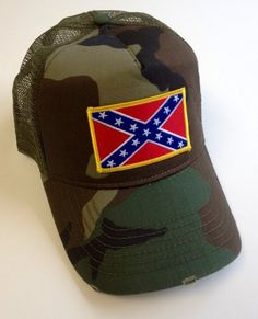 54d0900495b Amazon.com  Rebel Confederate Flag Camo Distressed TRUCKER Ball Cap Hat   Everything Else