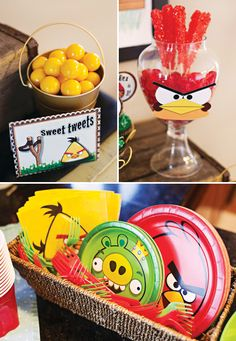 angry birds paper plates and themed candy