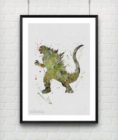 Godzilla Watercolor Poster Art Print Boys Nursery Wall Art by VIVIDEDITIONS