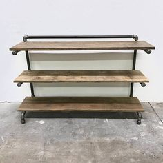 Handcrafted Shelving. Steel Pipe with Iron Fittings and Reclaimed Wood. 48x15x30 Made to Order. Custom sizes available in your dimensions. Finish is also customizable with stain colors, paint, distressed, rustic, texture, sheen, etc. --Heirloom quality reclaimed wood and steel furniture.