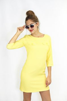 Yellow Dress by Merada available in http://aleksandragerasimets.com/collections/sixties/products/vestido-amarillo-anos-1960s #yellow #dress #vestido #sixties #1960s #fashion
