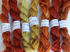 Alum mordanted wool dyed with dried Coreopsis tinctoria flowers