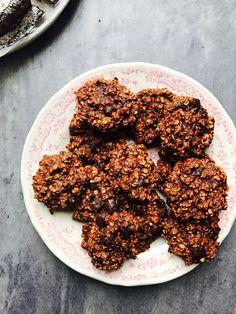 Banan cookies med havregryn og chokolade - opskrift på sunde cookies uden sukker og uden mel/gluten.