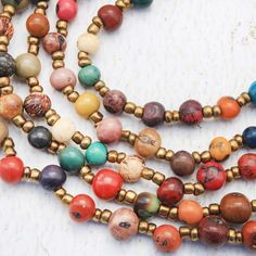 close up of multi layer acai necklace from ArtisansintheAndes.com