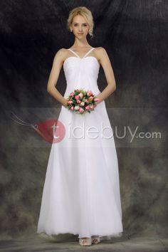 Elegant Empire Halter Ankel Length Nastye's Beach Wedding Dress : Tidebuy.com
