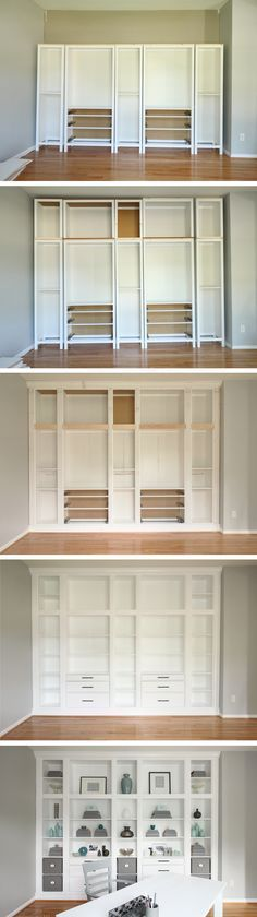 DIY Built-in Bookcases made with Ikea Hemnes Furniture, Custom Built-in Storage,. - Ikea DIY - The best IKEA hacks all in one place Built In Bookcase, Built In Storage, Ikea Storage, Craft Storage, Dvd Storage, Bookshelf Diy, Wall Storage, Unique Bookshelves, Office Bookshelves