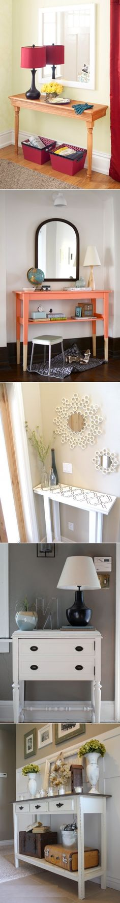 DIY Foyer Tables make for the perfect Entryway to your home! Diy Interior, Modern Interior, Interior Decorating, Interior Design, Home Projects, Home Crafts, Entry Tables, Creation Deco, Home Food