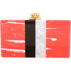 Pre-owned Edie Parker Jean Striped Clutch ($640) ❤ liked on Polyvore featuring bags, handbags, clutches, orange, orange handbags, acrylic purse, kiss-lock handbags, red hand bags and locking purse