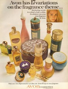 Ding Dong, the Avon lady is calling. LOL My Mom was the Avon lady. Vintage Makeup Ads, Vintage Avon, Vintage Perfume, Vintage Beauty, Perfume Hermes, Avon Perfume, Perfume Bottles, Perfume Good Girl, Avon Collectibles