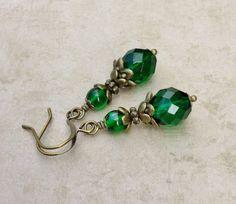 Victorian Earrings Emerald Green Earrings Green Earrings