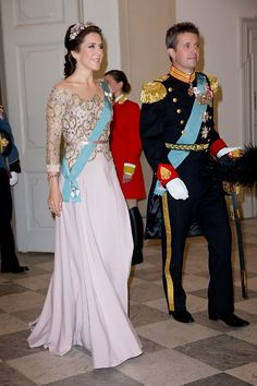 Crown Princess Mary of Denmark and Crown Prince Frederik of Denmark attend a Gala Dinner at Christiansborg Palace on the eve of The 75th Birthday of Queen Margrethe of Denmark on April 15, 2015 in Copenhagen, Denmark.