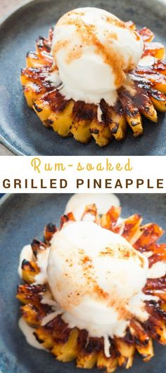 This grilling season fire up your grill to make the best ever grilled pineapple that is soaked in rum, brown sugar. What could be better summer grilling than these grilled pineapple topped with vanilla ice cream with drizzled with rich rum glaze. Pineapple Top, Pineapple Recipes, Fruit Recipes, Dessert Recipes, Grilled Pineapple Recipe Brown Sugar, Pineapple On The Grill, Salmon Recipes, Delicious Recipes, Water Recipes
