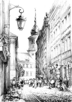 Swietojanska street by hipiz A street in old town in Warsaw, Poland. View a. Swietojanska street by hipiz A street in old town in Warsaw, Poland. View a. Swietojanska street by hipiz A street in old town in Warsaw, Poland. View at the Royal Castle. Landscape Drawings, Architecture Drawings, Art Sketches, Art Drawings, Pencil Drawings, City Drawing, City Sketch, Building Drawing, Perspective Drawing