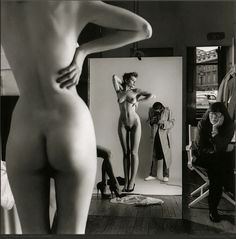 © Helmut Newton - Self Portrait with wife and models, 1981....  I am quite confused about pinterest nudity policy. They declare they accept art that we can see in museums and cabinets - and they remove Man Rays photo from my board...