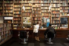 public barber salon in north beach....love the library look in a retail/hospitality setting