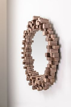 Wooden Cube Mirror by Home Arture made in The Netherlands on CrowdyHouse