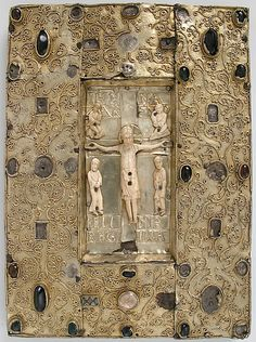 ) with Ivory Figures via Medieval Art Medium: Silver-gilt with pseudo-filigree, glass & stone cabochons, cloisonné enamel, Ivory with traces of gilding on pine support Gift of J. Medieval Books, Medieval Art, Renaissance Art, Celtic, Book Libros, Early Middle Ages, Byzantine Art, This Is A Book, Book Of Hours