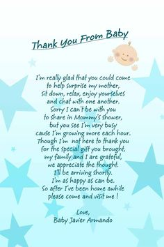 Baby shower poem. I created these for my son's baby shower. I printed them on vellum paper.