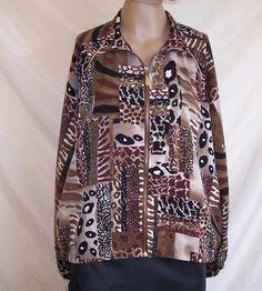 TEDDI Womens size L jacket  animal print zip up long elastic sleeves #Teddi #BasicJacket